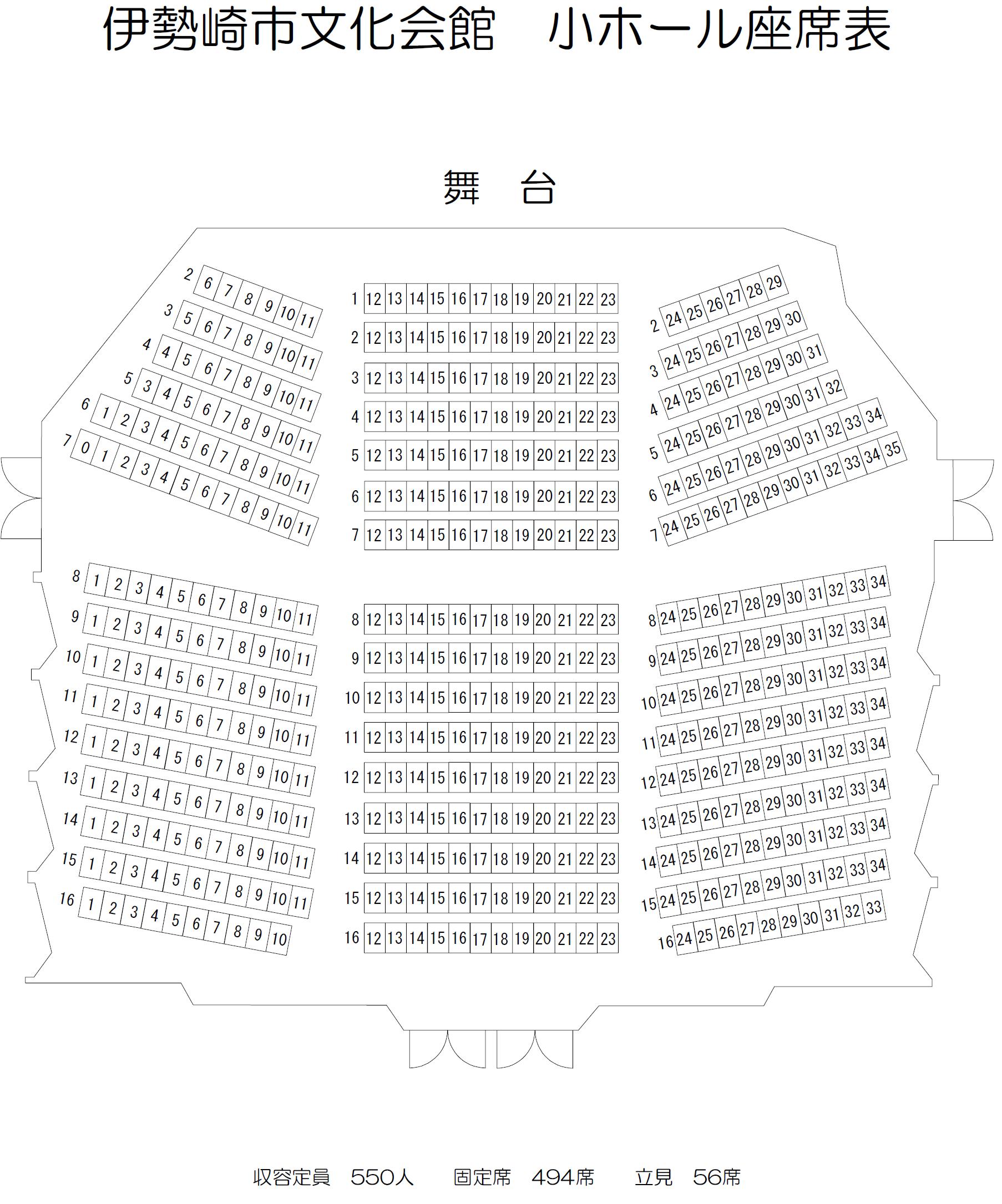 伊勢崎市文化会館座席 小ホール座席表